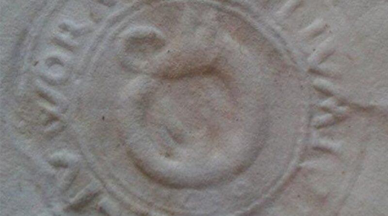 Najstarszy znany wizerunek pieczęci Ornety,gdzie widzimy smoka leżącego na grzbiecie, który gryzie się w ogon